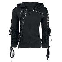 Gothic Punk Women Hoodies Lace Up Hooded Long Sleeve Casual Strap Harajuku Darkness Goth Hoodie Black Sweatshirt Plus Size