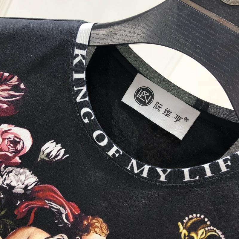 2019 Весна 19ss новые модные футболки Ангел цветок цветочные Корона печать футболка для мужчин хлопок известный бренд одежда Топ Ретро - 3