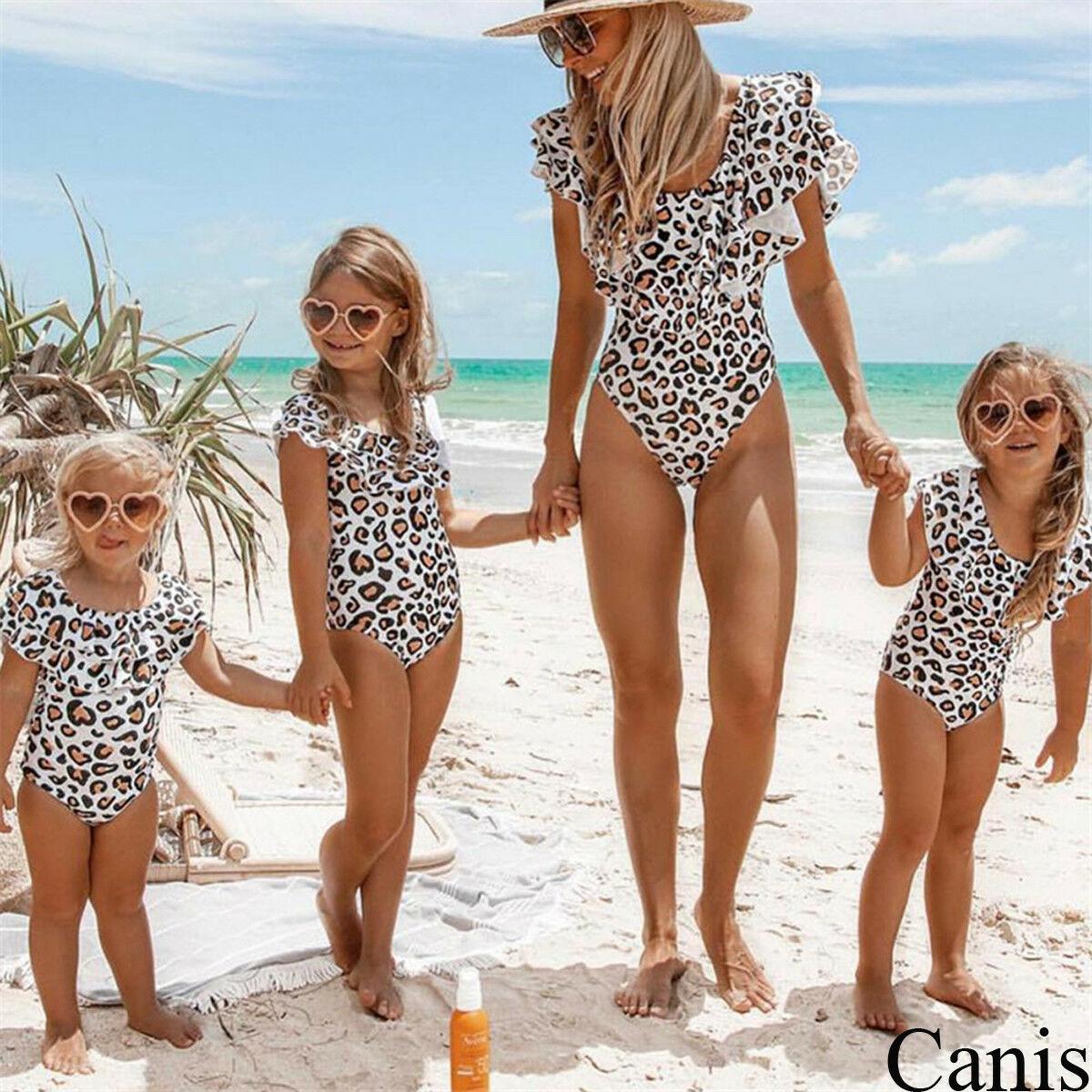 Familia juego ropa de las mujeres de la hija de mamá de bebé abrigos leopardo trajes de baño traje de baño de una pieza