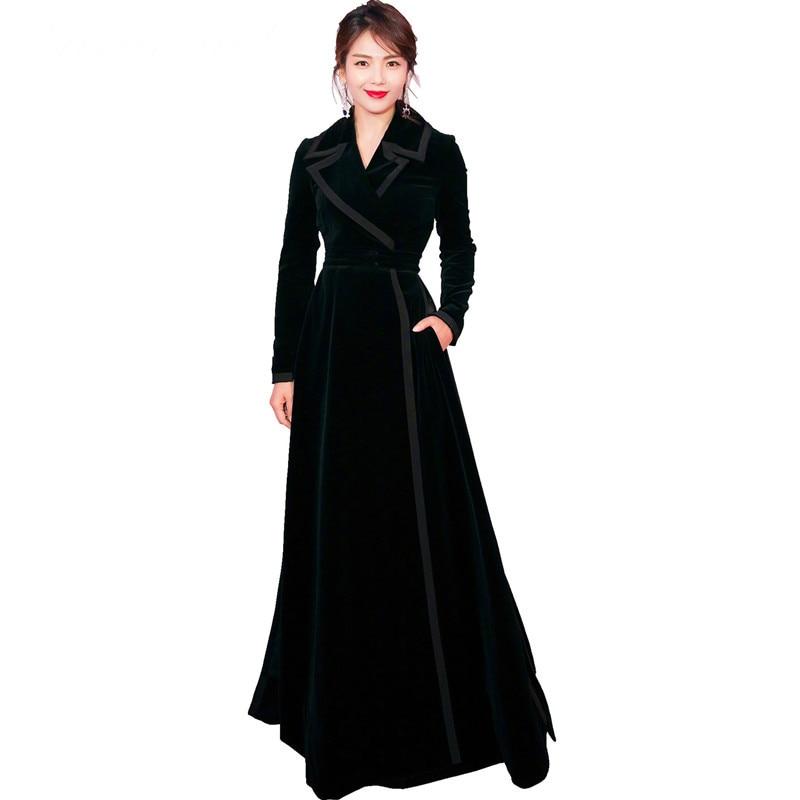 Black Épais 2019 Entaillé Longue Velours Tranchée Noir Wrap Designer Vintage Chaud Col Manteau Bureau Hiver Piste Femmes Dames Maxi wxUxSqAB