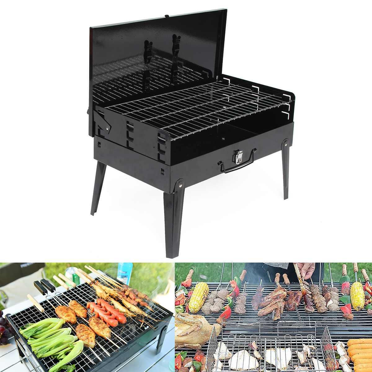 3-5 personne Portable Barbecue Barbecue grilles brûleur four extérieur jardin charbon de bois Barbecue Patio fête cuisson pliable pique-nique