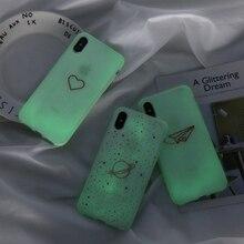 KJOEW Luminous Silicon Case For iPhone 7 6 6s 8 Plus X XR XS MAX Cartoon Love Heart Stars Phone Cases Soft TPU Cover Coque