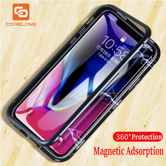 360 Magnetic Adsorption Case for iPhone XR XS MAX X 6 6s Plus Clear Tempered Glass Magnet Cover for iPhone Apple 7 8 Plus Funda