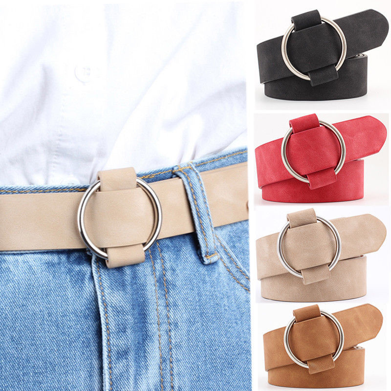Wholesale Female Casual Round Buckle Wide Belts For Women Dress Jeans Belt Woman Ladies Faux Suede Leather Straps Ceinture Belts