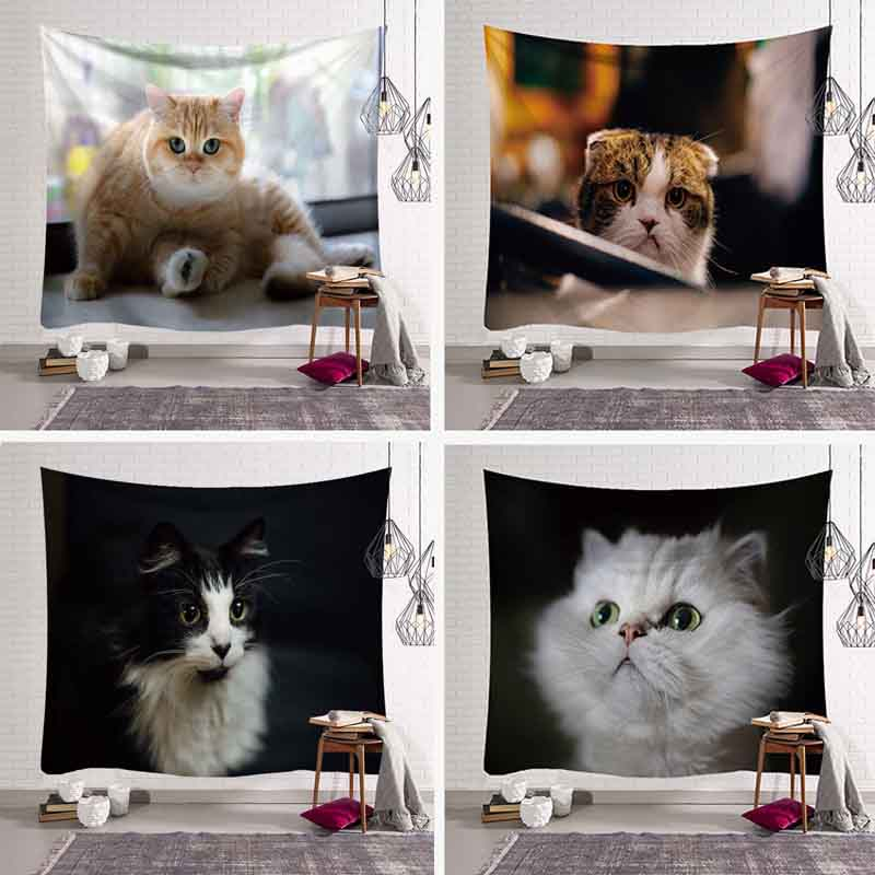 Creative Cool 3D Cats Pattern Tapestry Animal Printed Wall Hanging Tapestries Art Mural Gobelin Living Room Bedspread Home Decor