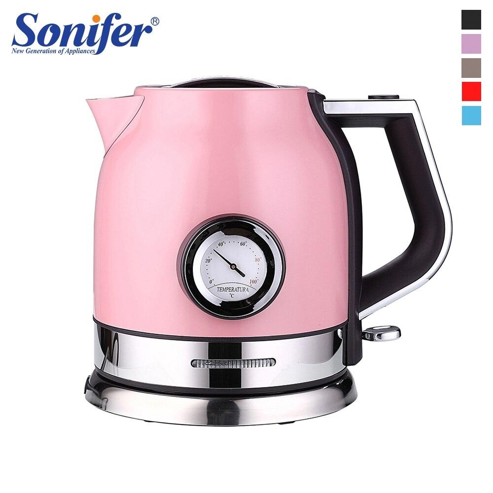 1.8L красочные 304 нержавеющая сталь Электрический чайник с Температура воды метр 1500 Вт бытовой 220 в быстрый нагрев Boili