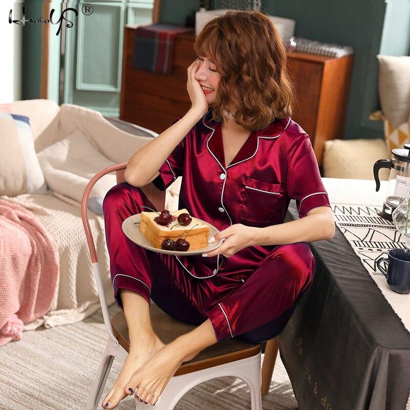 Women Silk Pajamas Satin Pajamas Sets Sleepwear Short Sleeve Top+Long Pants Pajamas Home Clothing Pyjama Night Suit