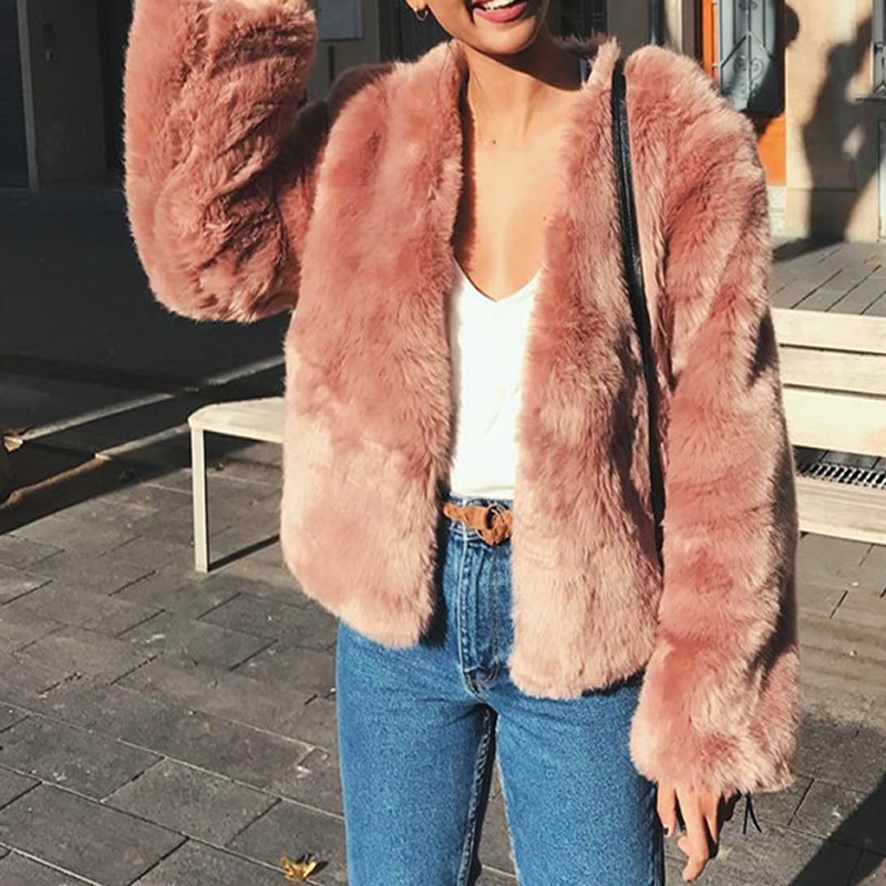 Fur Coat For Women Winter Pink Fur Jacket Fashion Short Outwear Warm Soft Cardigan Slim Streetwear Short Coat 2018 S 4xl Size