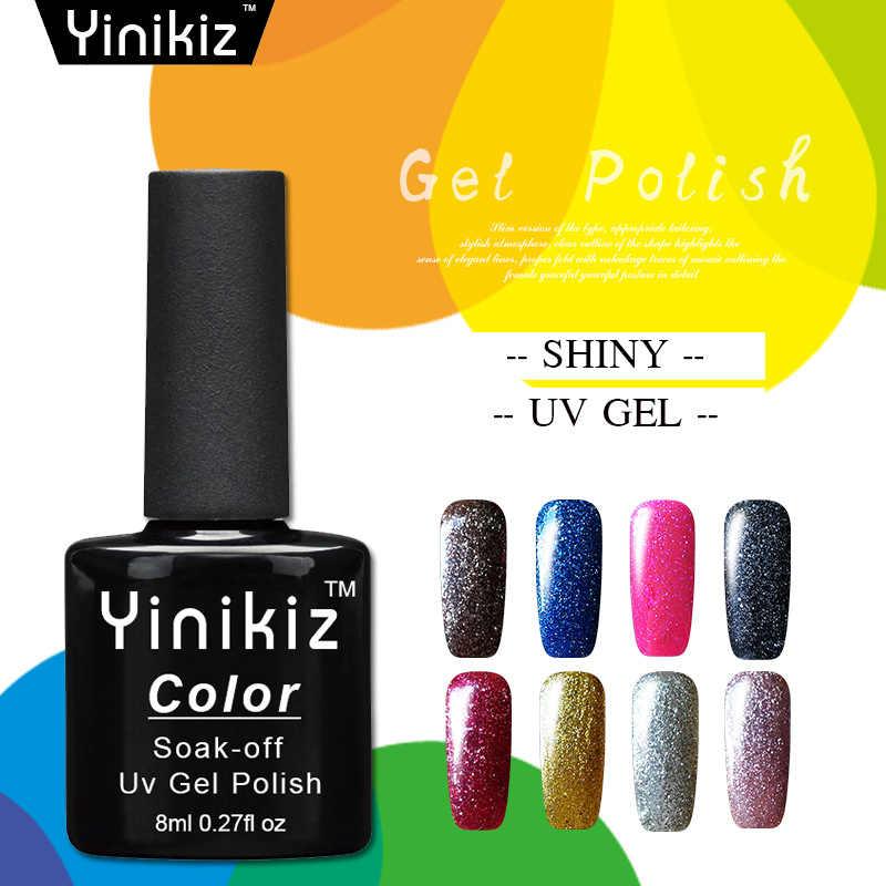 Yinikiz UV Gel Gel Série de Platina 8 Cores Super Brilhante Glitter Nail Polish Soak Off UV & LED Estrelado Glitter efeito Verniz Gel