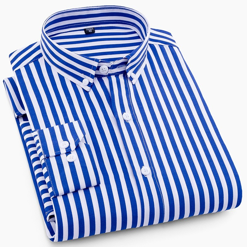 2019 NEW Men Striped Shirts Casual Long Sleeve Mens Shirt Slim Fit Business Male Social Dress Shirts NO Pocket
