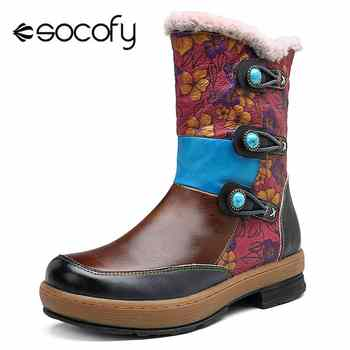 Socofy Vintage Mongolia Style Ankle Boots For Women Shoes Woman Genuine Leather Zipper Winter Boots Women  Western Booties - DISCOUNT ITEM  50% OFF All Category