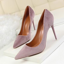 Women Elegant Pumps Fashion Thin Office Heels Sexy Shallow Mouth Pointed Toe Flock Suede High-heeled Shoes DS-A0031 2018 spring shoes maryja with high heels and shallow mouth suede big buckle women shoes green fashion pumps