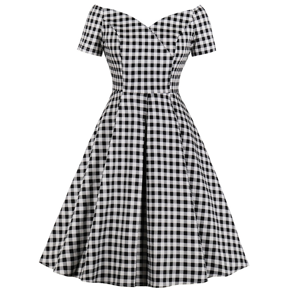 b5f779e1f16aa Joineles Sexy Summer V Neck Retro Dress Plaid Print Pin up Swing Vintage  Dress Check Evening Rockabilly Swing Party Vestidos-in Dresses from Women's  ...
