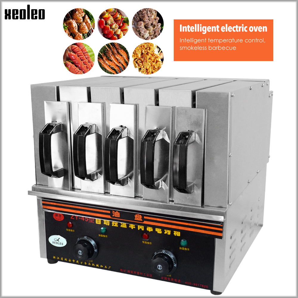XEOLEO 5 Grupo Comercial máquina de Espeto 3600 W Fabricante de máquina de Kebab CHURRASCO Grill Elétrico Churrasco Máquina de Churrasco Sem Fumaça