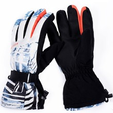 Ski Gloves Extra Thick Snow Winter Sport Snowboard Synthetic Insulation Warm Waterproof Windproof Skiing Men Outdoor Printed
