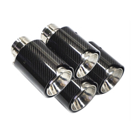 Free shipping 4 Pcs Brand New Car Carbon Fiber SUS304 Stainless Exhaust End Tail Tips 2.5'' in, 4.1'' out for BMW M3/ M4
