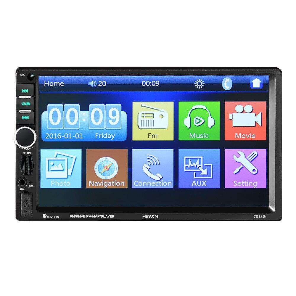 HEVXM 7018G 2 Din 7 pouces HD écran tactile autoradio multimédia lecteur MP5 Navigation GPS avec caméra et cartes de l'asie du sud-est Bl
