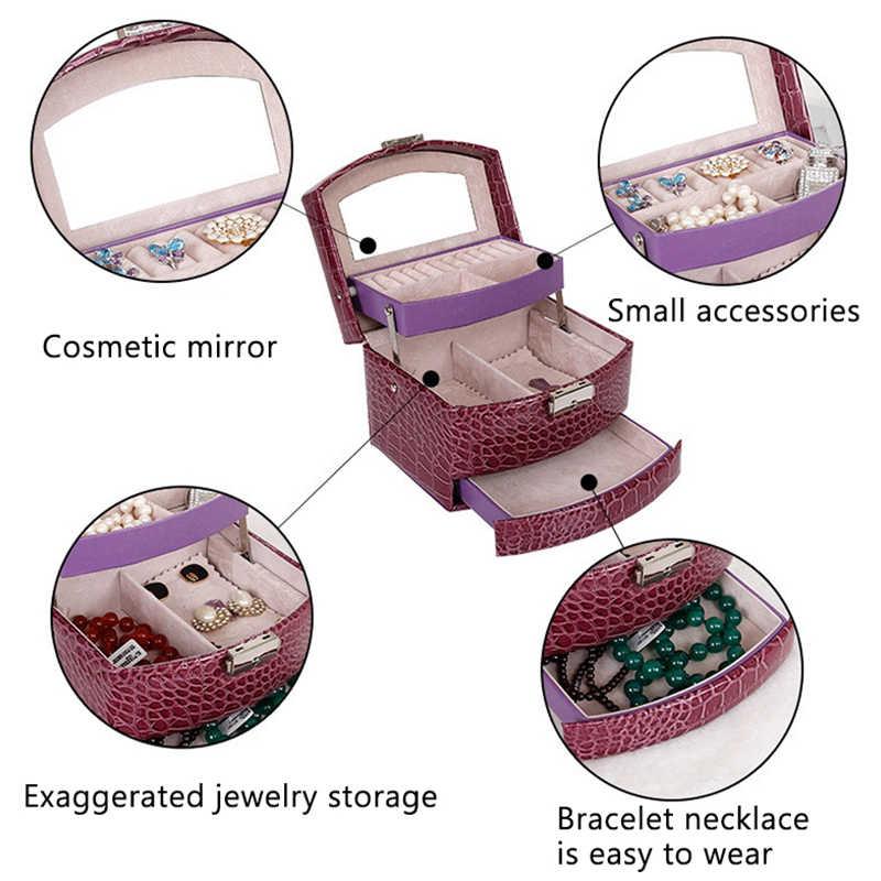 אוטומטי עור תכשיטי תיבת אחסון שלוש שכבות תיבת לנשים עגיל טבעת קוסמטי ארגונית ארון לקישוטים