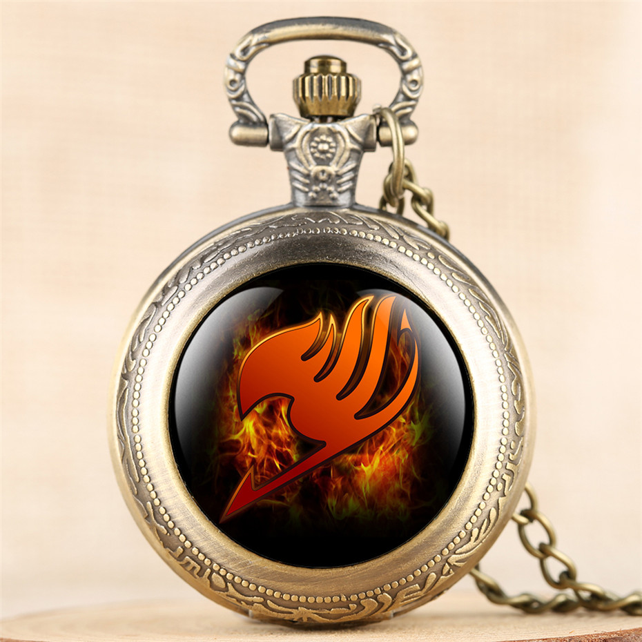 Exquisite Pendant Pocket Watch For Kid Japanese Anime Fairy Tail Theme Design Necklace Clock Men Women Retro Watches Quartz