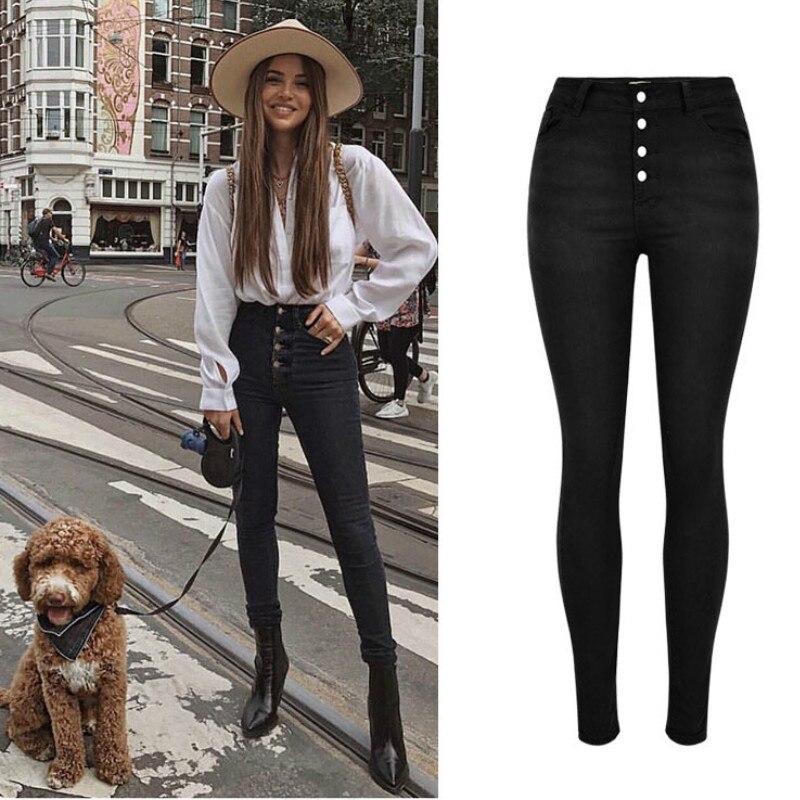 High Waist Slim Elasticity Skinny Jeans Women Button Fly Black Calcas Jeans Feminina High Street Push Up Calca Jeans Feminina