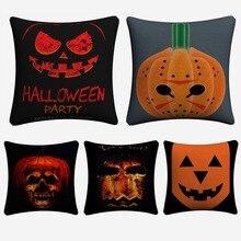 Minimalist Pumpkin Horror Halloween Cotton Linen Cushion Covers 45x45cm Soft Pillow Case For Sofa Chair Home Decor Almofada цены