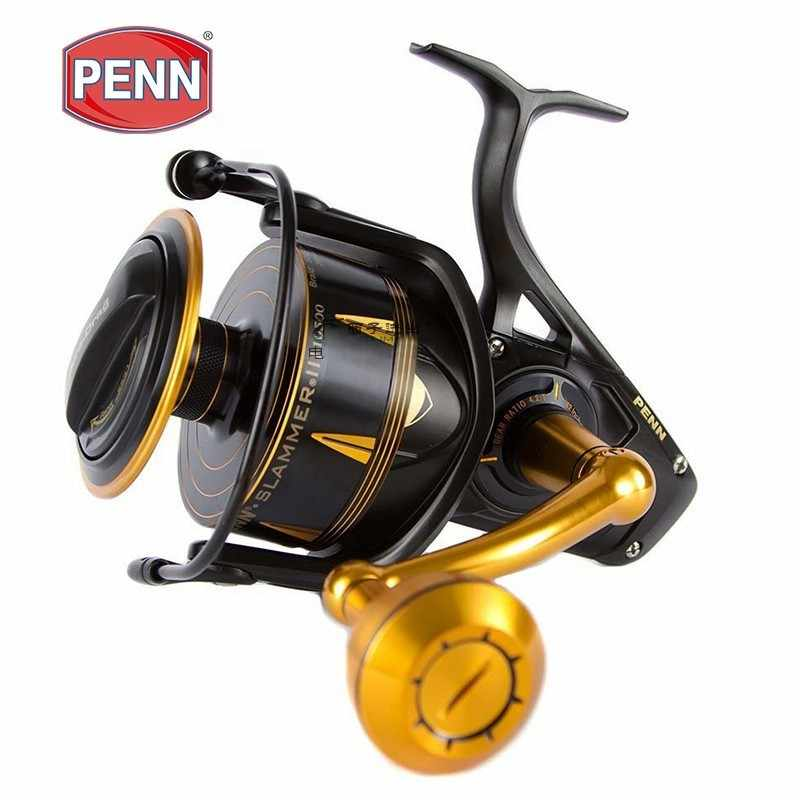 Penn SLAMMER III Sla 3500-10500 Spinning Fishing Reel 6+1bb Full Metal Body 27kg MAX Ipx6 Sealed Saltwater Reel Oceean Fishing