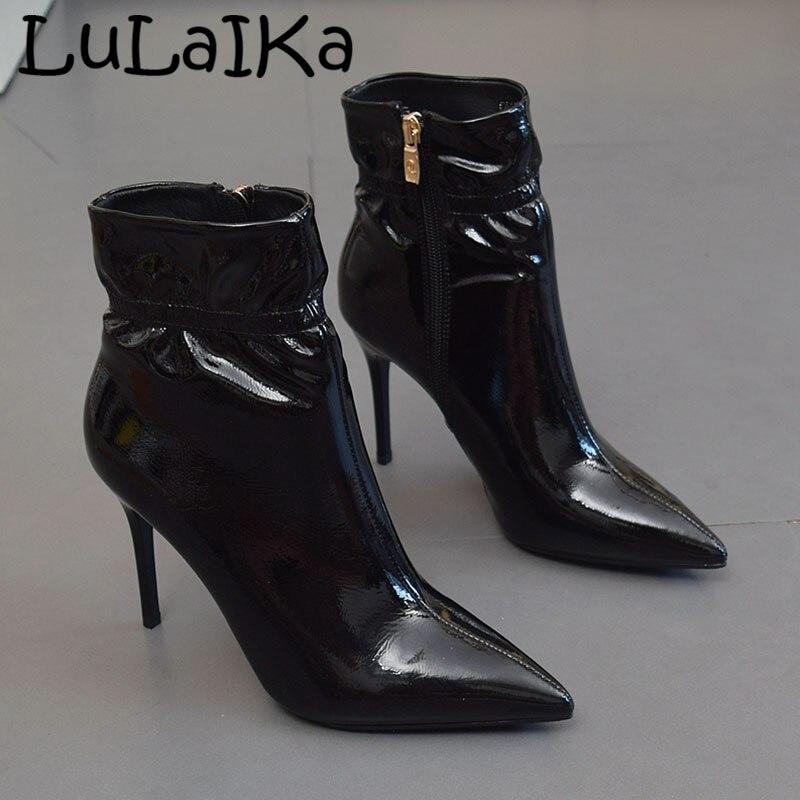 Color Botas De Alta Fiesta Zip Patente Cuero Moda Lado La Tacón Punta Mujer Boda Sexy Fino Zapatos Bombas 2019 Black Sólido dHwUIxInq