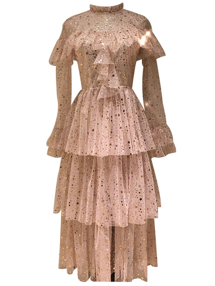 Us 1759 25 Offlayered Ruffles Stars Sequined Dress Summer Women 2019 Korean Beige Lace Gauze Mesh Tulle Long Sleeve Party Dresses White In Dresses