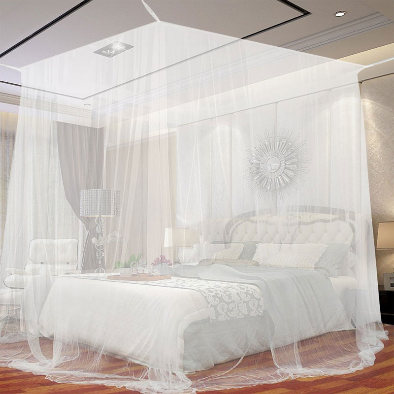 GA Homefavor Mosquito Net 4 Corner Post Bed Canopy Includes Hanging Kit with Portable Carry Bag