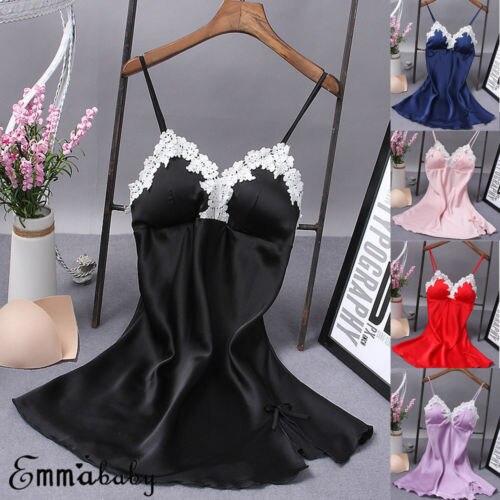 Sexy Women's Satin Silk Sleepwear  Nightdress Lingerie Night Dress Skirt