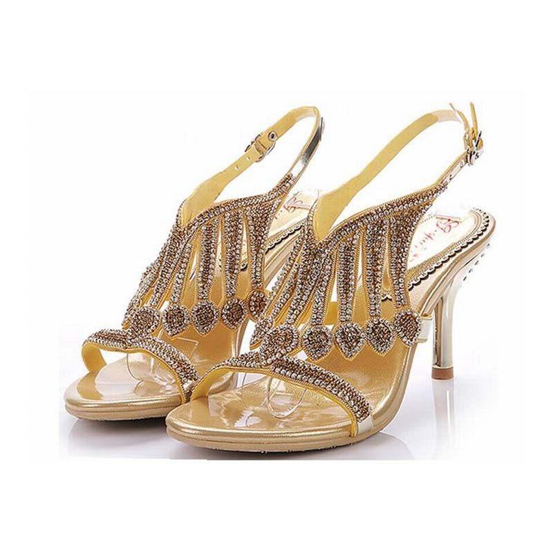 da1ab0166f3cf7 big size 34-44 women luxury tassel rhinestone wedges thick high heels sandals  gladiator crystal