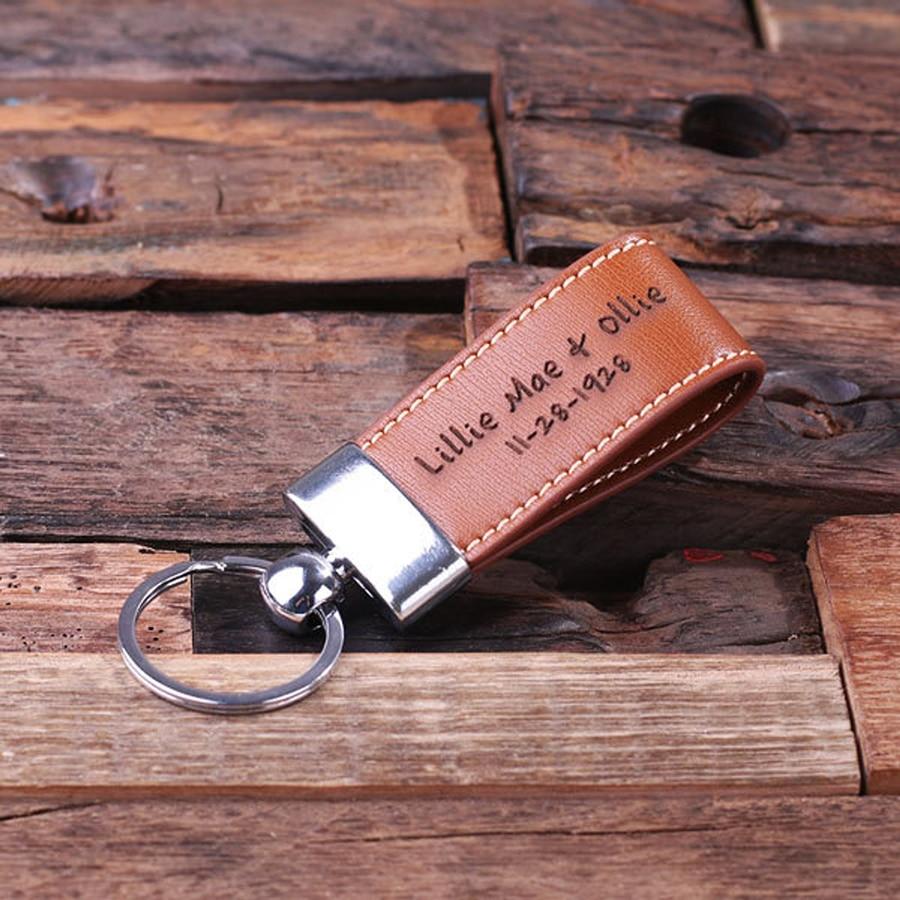 Leather Keyring Birthday Name Optional Engraving Amaan