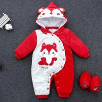 Newborn Infant Cartoon One pieces Clothes Baby Warm Very Thick Padded Romper Jumpsuit Outfit Removable Foot Covered Onesies