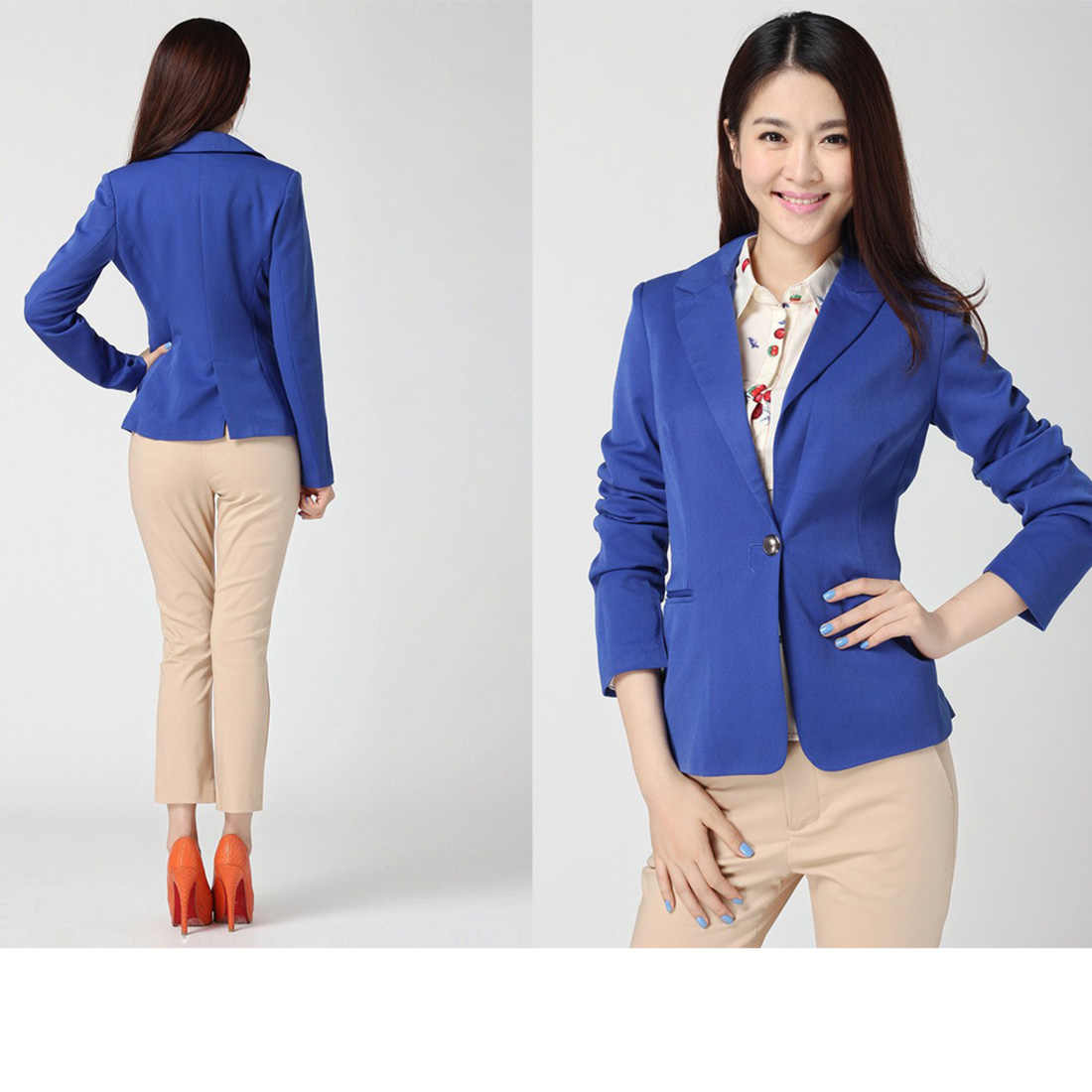 33e49759be5d0 Slim Blazers Women Spring Autumn Suit Jacket Female Work Office Lady Suit  Wear Black None Button Business Notched Blazer Coat