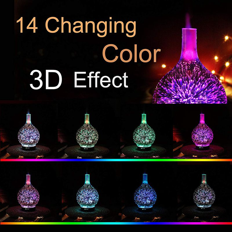 Us Plug, Essential Oil Diffuser Night Light 3D Effect Cool Fog Humidifier Ultrasonic Aroma Diffuser With 14 Color Led, Home /