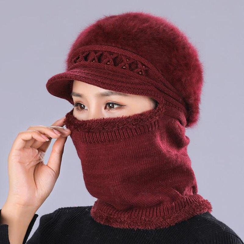 Winter Warm Hats   Skullies     Beanies   Hat   Beanies   For Women Wool Scarf Caps Balaclava Mask Gorras Bonnet Twist stripes Knitted Hat