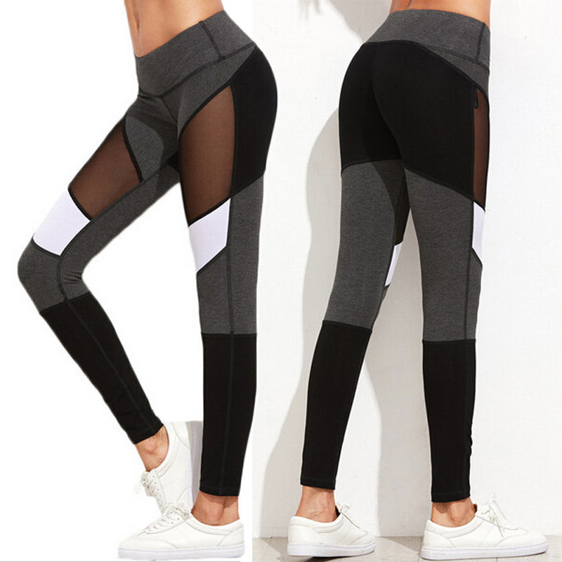 Women Fitness Yoga Pants Leggings Stretch Pants Trousers Stylish Womens Patchwork Mesh Leggings Ladies Skinny Pants