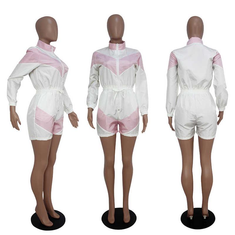 Frauen Overall Satin Shorts Trainingsanzug Kontrast Farbe Patchwork Overall Romper Langarm Hohe Kragen Turtle Neck Plus Größe