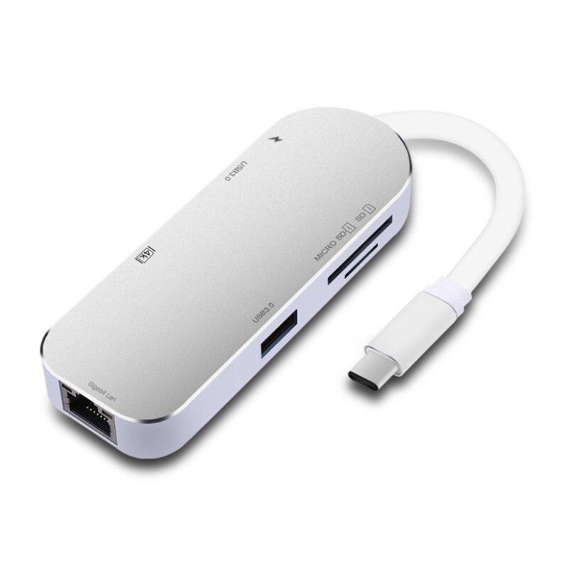 PPYY nouveau Type C à Ethernet Rj45 1000 Mbps Hdmi 4 K Otg Tf lecteur de carte Sd Usb3.0 convertisseur de moyeu avec adaptateur de chargeur de Type Pd C