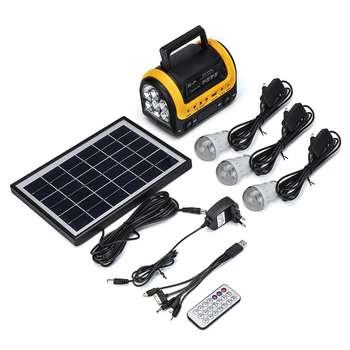 Portable Solar Panel Power Generator LED Lighting System Kit MP3 Flashlight USB Charger 3 LED Bulbs Outdoor Emergency Power 6