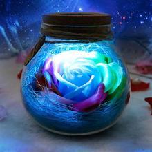 Wishing Bottle Rose Soap Flower Remote Control LED Lantern Light Bottle Practical Birthday Gift for Girlfriend Wife