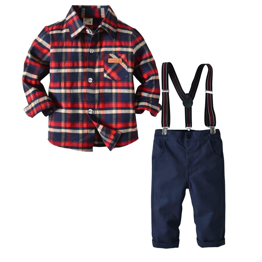 7eb1266d3 Conjuntos de Roupas Meninos criança Crianças Roupas Ternos Do Bebê Estilo  Gentleman Camisa Bib Calças Outono Crianças Traje Infantil Primavera 2-9Y