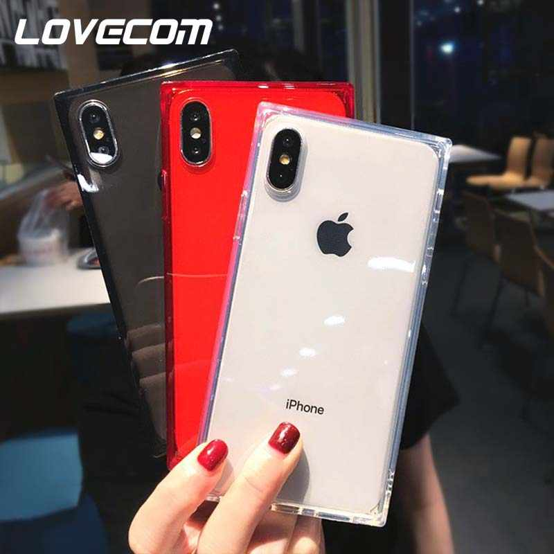 LOVECOM Square Shockproof Clear Phone Case For iPhone 11 Pro Max XS Max XR 6 6S 7 8 Plus X Silicone Soft Transparent Back Cover
