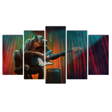 Modern Posters And Prints Oil Painting Chimpanzee Electric Guitar Canvas Wall Art Pictures for Living Room Home Decoration