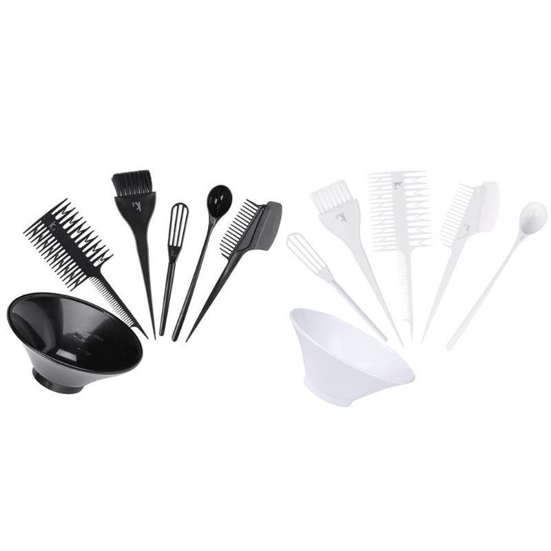 High Quality 6pcs Hair Dye Tool Kit Salon Hair Coloring Bowl Hair Color Cream Mixer Hair Color Brush Comb Hairdressing Set