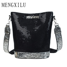 New Sequin Crossbody Bags for Women Girls 2019 High Quality Messenger Bag Women's Fashion Shoulder Bag Female Bling Bucket Bags sequin decor bucket bag