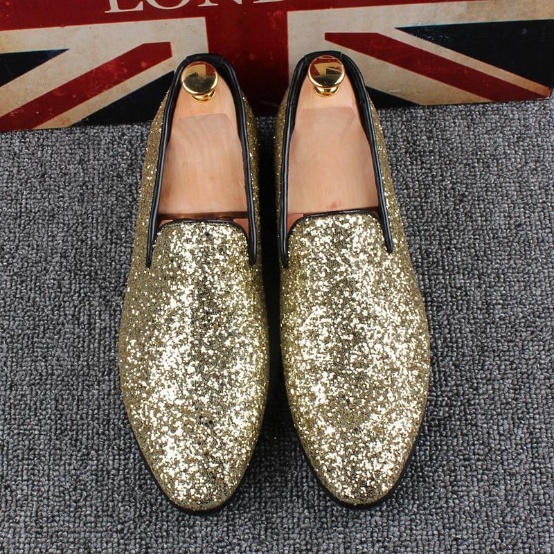 Primavera Preto Peans Sapatos Glitter On Homens Ouro Calcanhar Plana Slip Shinny Prata Preguiçosos Para Verão 5q8PAwZ