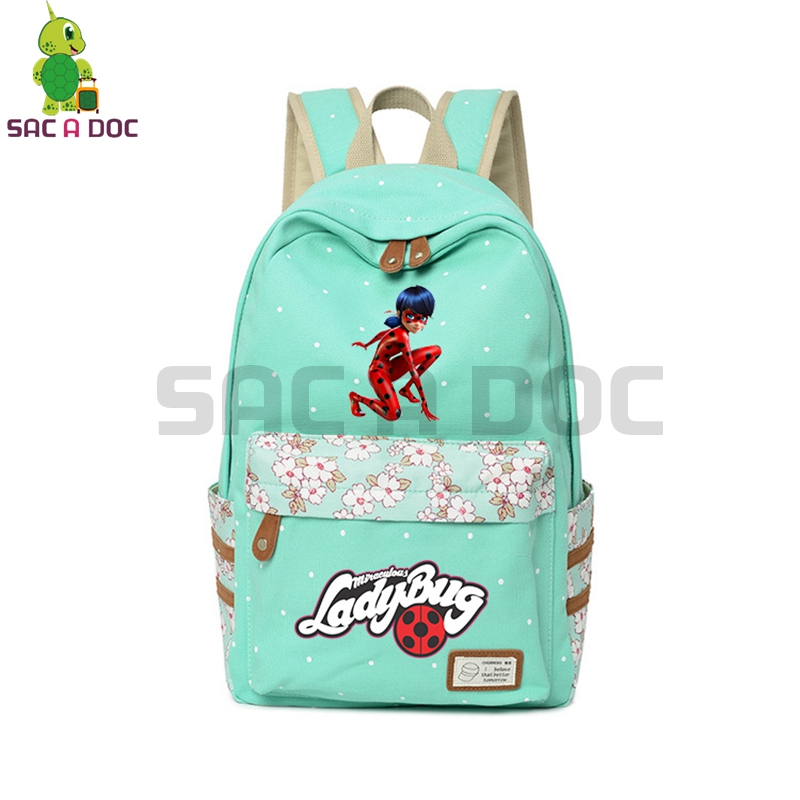 Anime Miraculous Ladybug Backpack Floral Wave Point School Bags for Teenage Girls Travel Shoulder Bags Ladybug Cat Noir BackpackAnime Miraculous Ladybug Backpack Floral Wave Point School Bags for Teenage Girls Travel Shoulder Bags Ladybug Cat Noir Backpack