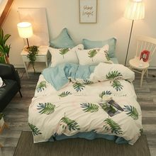 Green Plant Family Bedding Set Bedclothes Flat Bed Sheet Bedding Set Soft Comfortable Duvet Cover Set Twin Full Queen King Size(China)