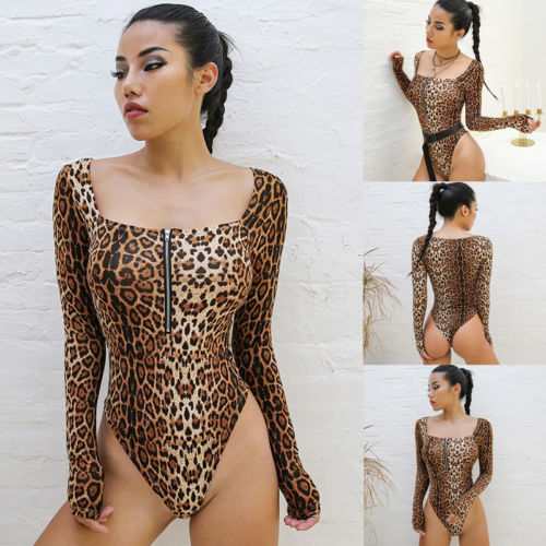 e0099abc66af 2019 Clubwear Bodysuits Sexy Leopard Long Sleeve Jumpsuit Women One-piece  Top Stretch Leotard Shirts Evening Party Clothes